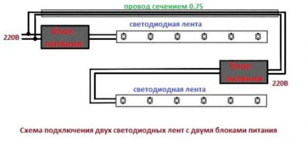 Подключение светодиодных лент. Схема