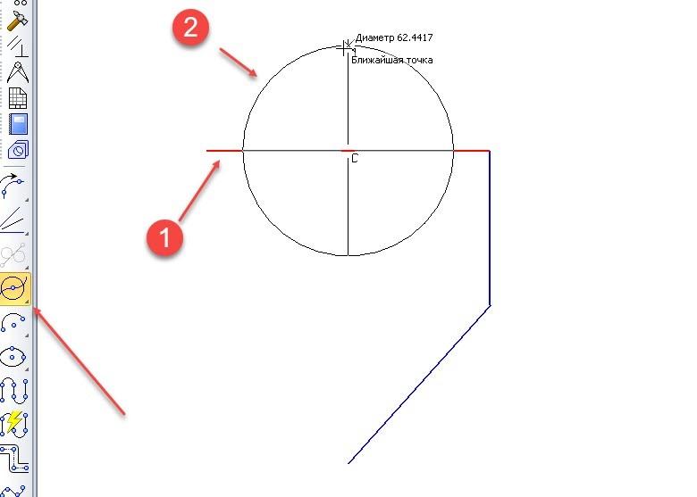 Построение отрезков и дуг в KOMPAS 3D 12