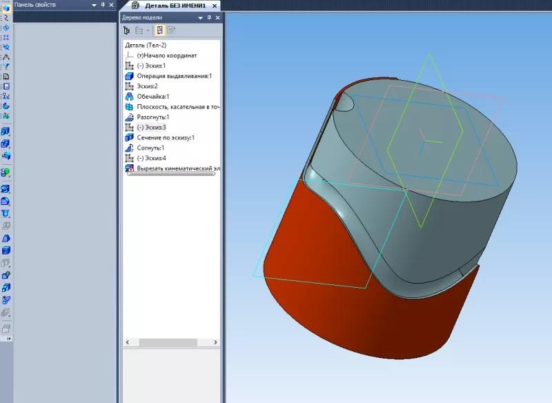 Построение паза, массив и изгиб деталей в KOMPAS 3D 12