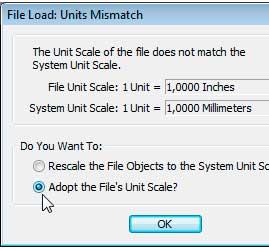 Окно, выводимое системой в случае несовпадения единиц файла и системы Units Mismatch