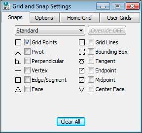 Диалоговое окно Grid and Snap Settings