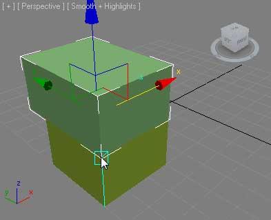 Перетащить к верхнему углу второго объекта, сработает привязка