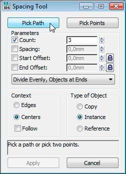 Диалоговое окно Spacing Tool в 3ds Max