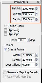 Настройка параметров двери, свиток Parameters в 3ds Max