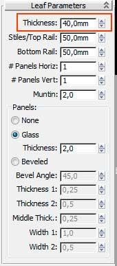 Свиток Leaf Parameters, настройка полотна двери в 3ds Max