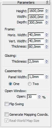 Настройки параметров окна Windows Casement в 3ds Max