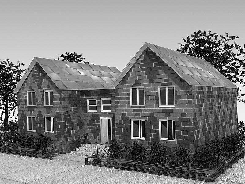 Дом с назначенными материалами в 3ds Max. Шаблоны материалов