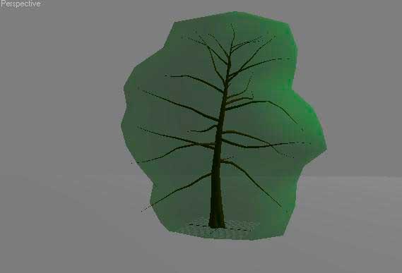 Вид дерева в окне проекции с кроной в режиме полупрозрачного шатра в 3ds Max