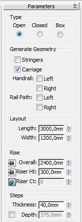 Свиток Parameters Stairs в 3ds Max