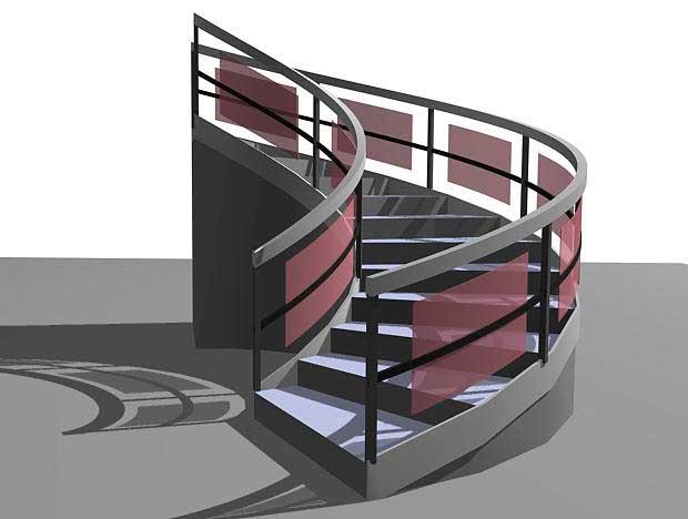 Лестница с ограждениями из объектов типа Railing. Stairs в 3ds Max