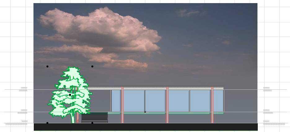 Создание разрезов, фасадов, вставка изображений и объектов в ArchiCAD-12