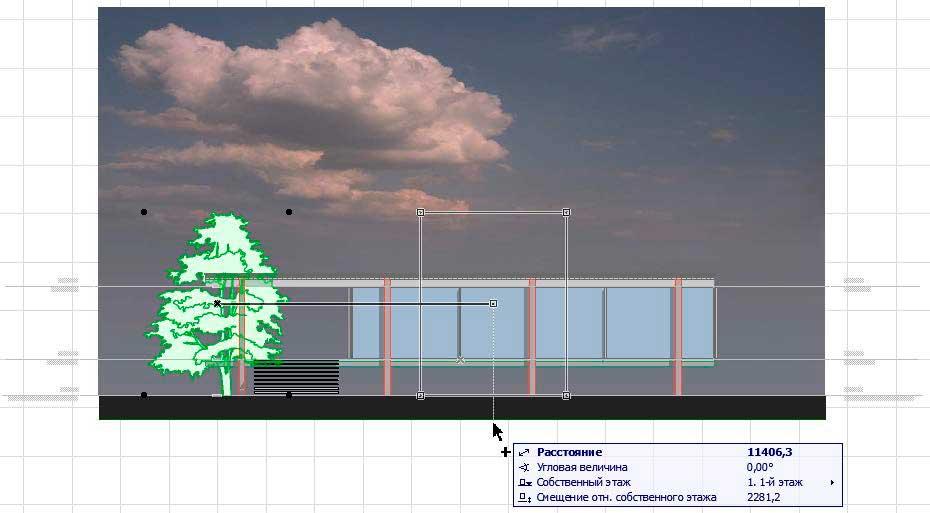 Создание разрезов, фасадов, вставка изображений и объектов в ArchiCAD-14