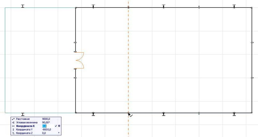 Создание внутренних стен в ArchiCAD-2