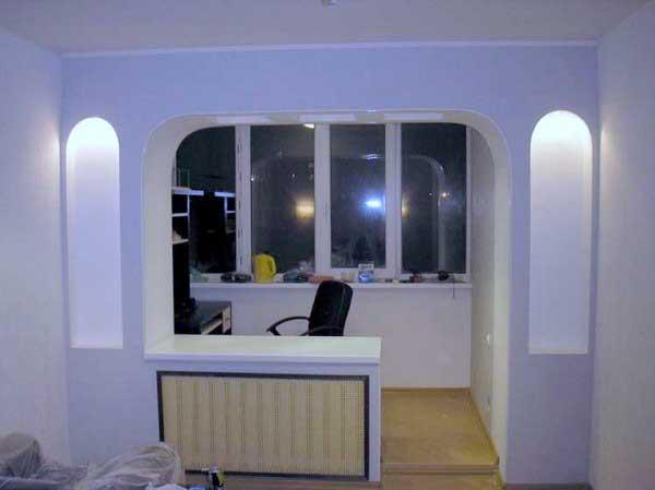 Совмещение балкона с комнатой 19