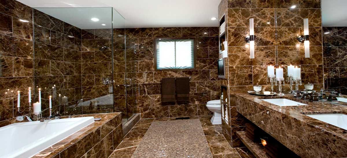Отделка ванной комнаты из мрамора
