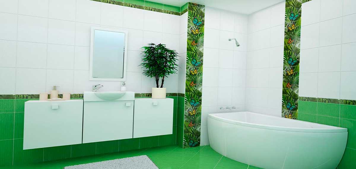 Зеленое сочетание плитки для ванной комнаты